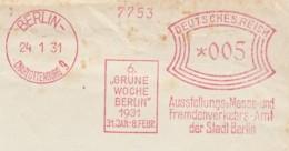 DR. Freistempel, '6 Grüne Woche Berlin'. - BERLIN Charlottenburg 9, 24.1.1931. Front Cover / Briefstück! - Allemagne