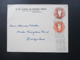 GB Ganzsachen Umschlag 2 Werte U 35 ?? Firmenumschlag The Tea Planters And Importers Company London - Schweiz - 1952-.... (Elizabeth II)