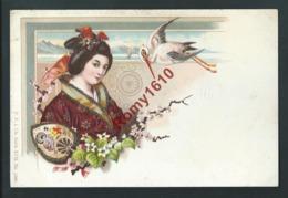 Japon. Lithographie Pailletée.Geisha, Kimono, éventail, Fleurs, Oiseau. Superbe Illustration. Rare. - Illustrateurs & Photographes