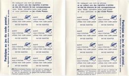 2 BLOC FEUILLET CODE POSTAL  44100 NANTES PUB A DROITE & PUB A GAUCHE - Codice Postale