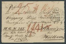 THURN Und TAXIS FRANKFURT, K2 Auf Fuhrmannsbrief (1846) Nach Schweigern Bei Heilbronn, Pracht - Deutschland