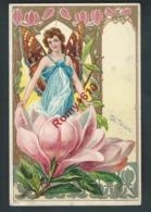 Femme Papillon Dans Un Magnolias.Art Nouveau. Surréalisme.  Très Belle Lithographie Avec Fines Dorures. N°908. 2 Scans. - Illustrators & Photographers