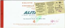 Billet/Ticket Avion. Alitalia. Bruxelles/Milan/Genes/Milan/Brux. 1964. - Billets D'embarquement D'avion