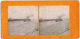 CALAIS DEPART DU PAQUEBOT A VAPEUR TRANSPORTS BATEAU PHOTO STEREOSCOPIQUE N° 10 STEREO ANNEE 1900 STEREOVIEW - Stereoscopic
