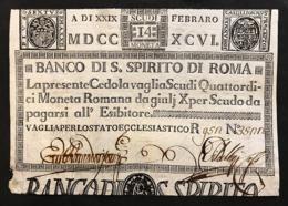 Banco Di Santo Spirito Di Roma 14 Scudi 29 02 1796 Fori Q.spl Lotto.112 - Italia