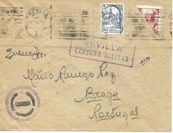 Sevilla A Portugal 1937, Locales Y Bisectado, Al Dorso Llegada. Censura. Guerre D'Espagne Ver 2 Scan - Nationalistische Ausgaben