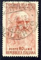 Varieta' - Leonardo Lire 80 Annullato (vedi Descrizione) Signed G.Biondi - 6. 1946-.. Republik