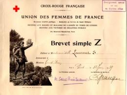 --CROIX ROUGE FRANCAISE / UNION DES FEMMES DE FRANCE / BREVET SIMPLE Z -- - Diplômes & Bulletins Scolaires