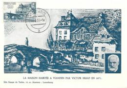 13.5.1953  -  La Maison Habitée A Vianden Par Victor Hugo En 1871  Edit Banque De Timbres , 19,Avenue Monterey,Luxembg - Cartes Maximum