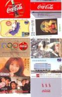 10 Télécartes - Prepaid Différentes  JAPON * COCA COLA (LOT A-6) JAPAN 10 DIFFERENT PHONECARDS * 10 VERSCHIEDENE TK - Alimentazioni