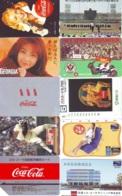 10 Télécartes - Prepaid Différentes  JAPON * COCA COLA (LOT A-7) JAPAN 10 DIFFERENT PHONECARDS * 10 VERSCHIEDENE TK - Alimentazioni