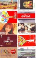 10 Télécartes - Prepaid Différentes  JAPON * COCA COLA (LOT A-8) JAPAN 10 DIFFERENT PHONECARDS * 10 VERSCHIEDENE TK - Alimentazioni