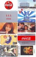 10 Télécartes - Prepaid Différentes  JAPON * COCA COLA (LOT A-11) JAPAN 10 DIFFERENT PHONECARDS * 10 VERSCHIEDENE TK - Alimentazioni