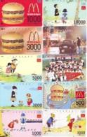 10 Télécartes - Prepaid Différentes  JAPON * McDonalds (LOT A-16) JAPAN 10 DIFFERENT PHONECARDS * 10 VERSCHIEDENE TK - Food
