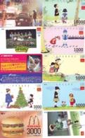 10 Télécartes - Prepaid Différentes  JAPON * McDonalds (LOT A-17) JAPAN 10 DIFFERENT PHONECARDS * 10 VERSCHIEDENE TK - Alimentazioni