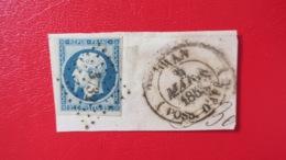 Napoleon N° 10 Sur Fragment Obliteration PC 3732 Oran Cachet A Date Oran Possessions D'Afrique 9 Mars 1853 - 1852 Louis-Napoléon