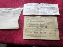 1941 ATTESTATION+REÇU ASSURANCE SOCIALE + Vignette P.T.T Cotisation -CPAM BOUCHERIE CAD PARIS 16 WW2-Document Historique - Documenti Storici
