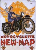 PUBLICITE MOTOCYCLETTE NEW-MAP - CARTE METAL 15X21 - EDITIONS CLOUET - SOUS BLISTER - Plaques Publicitaires