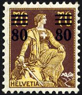 SCHWEIZ BUNDESPOST 127 *, 1915, 80 C. Auf 70 C. Schwärzlichrotbraun/hellchromgelb, Falzreste, Pracht, Mi. 30.- - Suisse