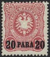DP TÜRKEI 2Na *, 1891, 20 PA. Auf 10 Pf., Nachdruck, Falzreste, Pracht, Mi. 35.- - Offices: Turkish Empire
