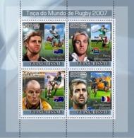 Guinea - Bissau 2007 - Rugby World Cup 2007 4v Y&T 2440-2443, Michel 3673-3676 - Guinée-Bissau