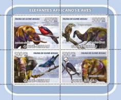 Guinea - Bissau 2008 - African Elephants, Birds 4v Y&T 2530-2533, Michel 3788-3791 - Guinea-Bissau