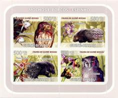 Guinea - Bissau 2008 - Owls, Porcupines, Orchids 6v Y&T 2546-2549, Michel 3800-3803 - Guinea-Bissau