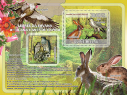 Guinea - Bissau 2008 - African Savannah Rabbits, Birds Of Prey S/s Y&T 398, Michel 3835/BL646 - Guinée-Bissau