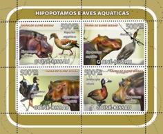 Guinea - Bissau 2008 - Hippos, Birds 4v Y&T 2566-2569, Michel 3816-3819 - Guinea-Bissau