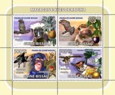 Guinea - Bissau 2008 - Macaques, Birds Of Prey, Fruits 4v Y&T 2582-2585, Michel 3828-3831 - Guinée-Bissau