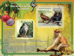 Guinea - Bissau 2008 - Macaques, Birds Of Prey, Fruits S/s Y&T 408, Michel 3843/BL654 - Guinée-Bissau