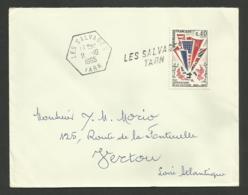 TARN / Griffe & Cachet Recette Auxilliaire Rurale LES SALVAGES / Enveloppe 1965 - Cachets Manuels