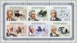 Guinea - Bissau 2008 - Pioneers Of Transport (H.Ford, J.L.Dunlop, P.Lalleman, Etc) 6v Y&T 2680-2685, Michel 3958-3963 - Guinea-Bissau