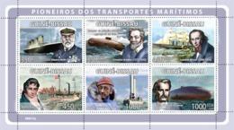 Guinea - Bissau 2008 - Pioneers Of Sea Transport (E.Smith, C.Drebbel, I.Brunel, Etc) 6v Y&T 2716-2721, Michel 4000-4005 - Guinea-Bissau