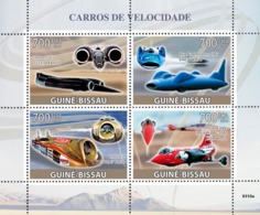 Guinea - Bissau 2009 - Fastest Cars (Thrusts SSC, Blue Bird-Proteus CN7, Thrust 2..) 4v Y&T 2938-2941, Michel 4275-4278 - Guinea-Bissau