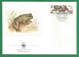 Ceskoslovensko  1989 , Fire-bellied Toad (Rotbauchunke) - WWF Official First Day Cover - PRAHA 18-7-1989 - Tschechoslowakei/CSSR