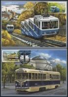 UKRAINE 2015 Mi 1513MK-1514MK Local Transport In Kiev: Funicular Railway, Tramway / Maximum Card / MC - Strassenbahnen