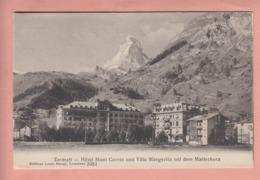 OUDE  POSTKAART ZWITSERLAND - SCHWEIZ - SUISSE -    ZERMATT - HOTELS EN VILLA - VS Wallis