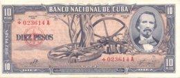 "CUBA RARE 10 PESOS 1960 ""+"" REPLACEMENT BANKNOTE VF+ SERIAL# 023614 / CHE GUEVARA PRINTED SIGNATURE - Cuba"