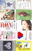 10 Télécartes - Prepaid Différentes JAPON * CROIX ROUGE (LOT A-42) JAPAN 10 DIFF RED CROSS PHONECARDS * 10 VERSCH TK - Reclame
