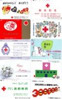 10 Télécartes - Prepaid Différentes JAPON * CROIX ROUGE (LOT A-44) JAPAN 10 DIFF RED CROSS PHONECARDS * 10 VERSCH TK - Pubblicitari