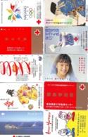 10 Télécartes - Prepaid Différentes JAPON * CROIX ROUGE (LOT A-47) JAPAN 10 DIFF RED CROSS PHONECARDS * 10 VERSCH TK - Werbung