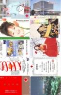 10 Télécartes - Prepaid Différentes JAPON * CROIX ROUGE (LOT A-48) JAPAN 10 DIFF RED CROSS PHONECARDS * 10 VERSCH TK - Werbung