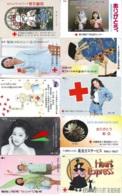 10 Télécartes - Prepaid Différentes JAPON * CROIX ROUGE (LOT A-49) JAPAN 10 DIFF RED CROSS PHONECARDS * 10 VERSCH TK - Werbung