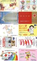 10 Télécartes - Prepaid Différentes JAPON * CROIX ROUGE (LOT A-58) JAPAN 10 DIFF RED CROSS PHONECARDS * 10 VERSCH TK - Werbung