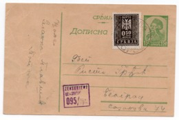 WWII, 1944, GERMAN OCCUPATION OF SERBIA, FROM TOPOLA TO BELGRADE, VUK 1.5 DIN + 0.50 POSTAGE DUE, CENSORED - Postal Stationery