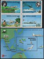 Marshall Islands 1987 Scott C17-C20 Air Mail 142 Sheet MNH Capex, Map, Ship, Plane - Marshall