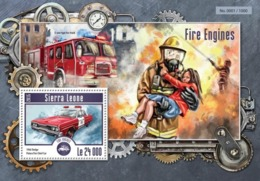 Sierra Leone 2015. [srl15206] Fire Trucks (s\s+block) - Voitures