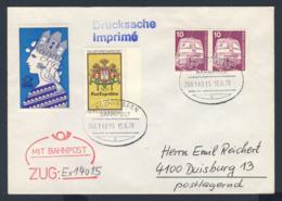 Deutschland Germany 1978 Cover / Brief  / Enveloppe - BAHNPOST Hagen - Siegen  - Zug Ex 14015 - Treinen