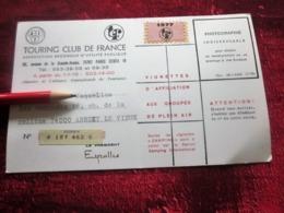 1977 CARTE ADHÉRENT TOURING CLUB DE FRANCE VIGNETTE CAMPING AFFILIATION GROUPE DE PLEIN AIR ANNECY-LE-VIEUX - Organisations